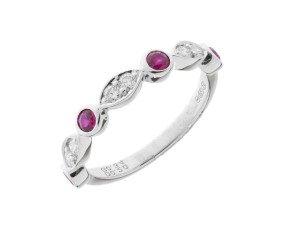 18ct White Gold 0.34ct Ruby & Diamond Half Eternity Ring