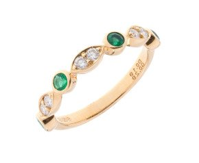 18ct White Gold 0.28ct Emerald & Diamond Half Eternity Ring