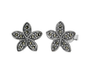 Sterling Silver & Marcasite Flower Stud Earrings