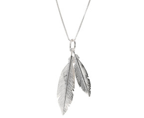 Sterling Silver Double Feather Pendant