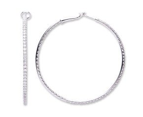 18ct White Gold 1.20ct Diamond Hoop Earrings