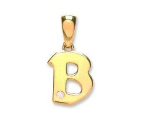 9ct Yellow Gold Diamond Letter 'B' pendant