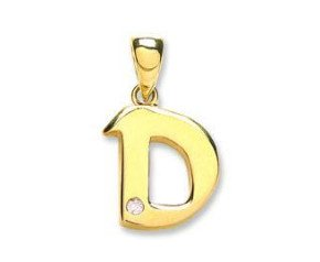 9ct Yellow Gold Diamond Letter 'D' pendant
