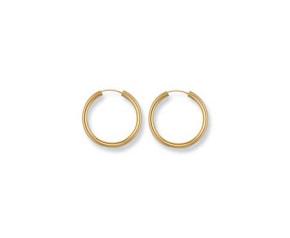9ct Gold 21mm Sleeper Hoop Earrings