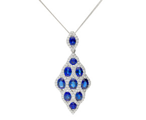 18ct White Gold 3.01ct Sapphire & 0.62ct Diamond Peacock Pendant