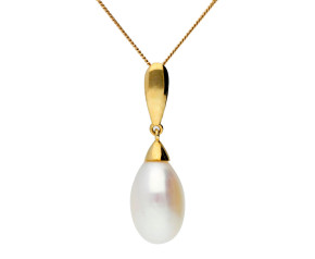 9ct Gold Freshwater Rice Pearl Pendant