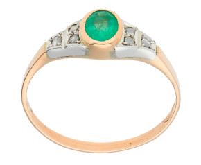 Handcrafted Italian 0.45ct Emerald & Diamond Ring
