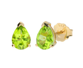 9ct Yellow Gold 7mm Peridot Solitaire Pear Shape Stud Earrings