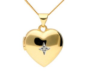 9ct Yellow Gold Diamond Heart Locket