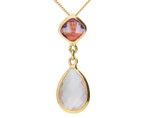 9ct Yellow Gold Rose Quartz & Amethyst Fancy Pendant