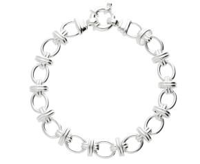 8.6mm Silver Oval Link Handmade Bracelet
