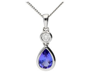 18ct White 0.35ct Tanzanite & Diamond Fancy pendant