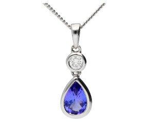 18ct White 0.35ct Tanzanite & Diamond Fancy pendant