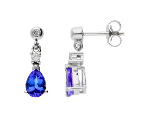 9ct White Gold 7mm Tanzanite & Diamond Pear Shape Drop Earrings