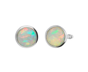 9ct White Gold 4mm Opal Solitaire Round Shape Stud Earrings