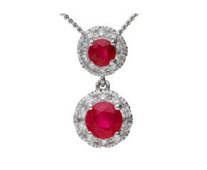 18ct White Gold 0.40ct Ruby & 0.10ct Diamond Double Cluster Pendant