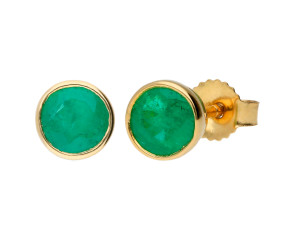 9ct Yellow Gold 5mm Emerald Solitaire Round Shape Stud Earrings