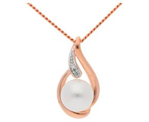 9ct Rose Gold Diamond & Pearl Pendant