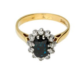 Vintage 9ct Yellow Gold Sapphire & Daimond Cluster Ring