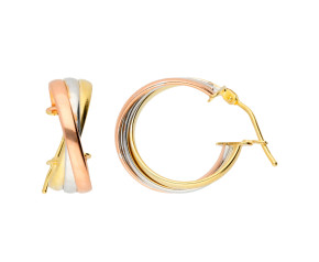 9ct White, Yellow & Rose Gold Interlocking Hoop Earrings