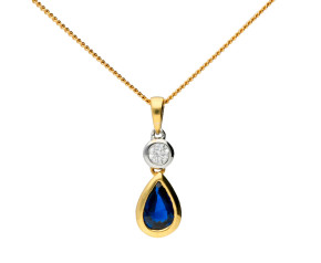 18ct Yellow Gold 0.55ct Sapphire & 0.07ct Diamond Drop Pendant