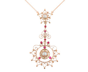 Handcrafted Italian 9ct Rose Gold Pearl & Ruby Mandala Style Fancy Necklace