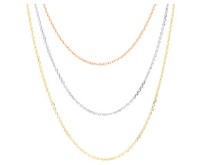 9ct Rose White & Yellow Gold Three Strand Necklace