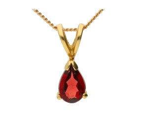 18ct Yellow Gold 0.25ct Pear Garnet Solitaire Pendant