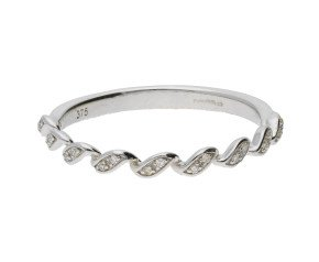 9ct White Gold & Diamond Ribbon Twist Ring