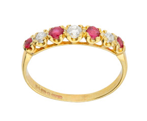 Vintage 9ct Gold 0.21ct Ruby & Diamond Eternity Ring