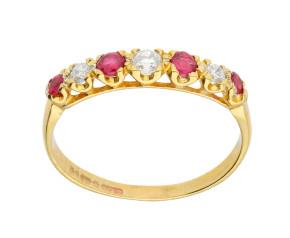 Vintage 9ct Gold 0.21ct Ruby & Diamond Eternity Ring
