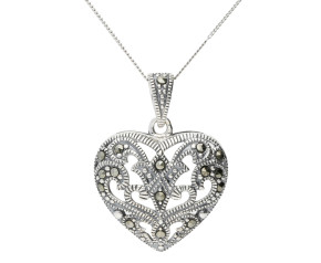 Sterling Silver & Marcasite Heart Shaped Pendant