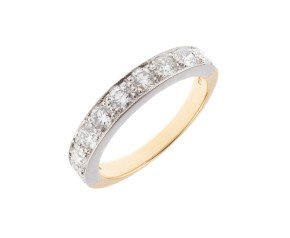 18ct White & Yellow 1.00ct Diamond Half Eternity Ring