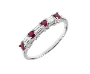 18ct White Gold 0.28ct Ruby & 0.22ct Diamond Ring