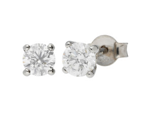 18ct White Gold 0.60ct Diamond Solitaire Stud Earrings