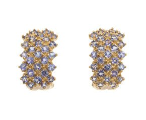 Pre-Owned 9ct Gold Tanzanite Cluster Earrings