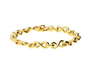 9ct Yellow Gold Infinity link Chain Bracelet