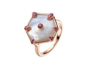 18ct Rose Gold 3.5cm Mother Of Pearl & 0.10ct Pink Sapphire Nova Dress Ring