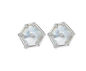 18ct White Gold Mother Of Pearl & Diamond Nova Fancy Stud Earrings