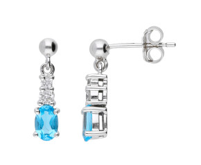 9ct White Gold 0.80ct Swiss Blue Topaz & 0.18ct Diamond Drop Earrings
