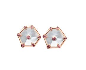 18ct Rose Gold Mother Of Pearl & Pink Sapphire Nova Fancy Stud Earrings