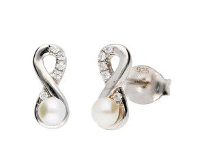 Sterling Silver Freshwater Pearl Infinity Stud Earrings