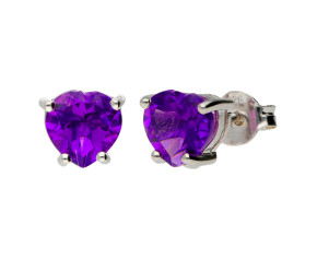9ct White Gold Heart 1.65ct Amethyst Solitaire Stud Earrings