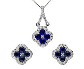 18ct White Gold 0.80ct Sapphire & 0.25ct Diamond Cluster Earrings & Pendant Jewellery Set