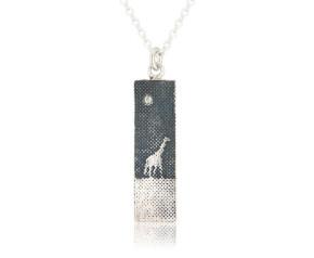 Sterling Silver & Diamond Giraffe Night Necklace