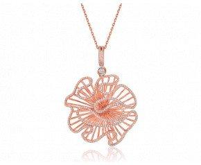 Sterling Silver & 18ct Rose Gold Vermeil Large Pendant