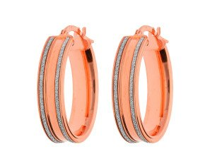 9ct Rose Gold Oval Hoop Earrings