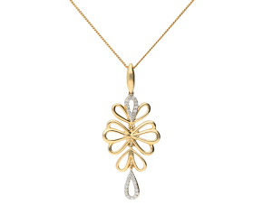9ct Yellow Gold Diamond Floral Pendant