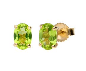 9ct Yellow Gold 1.00ct Peridot Oval Solitaire Earrings