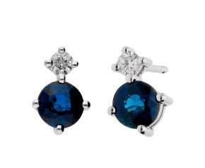 9ct White Gold 0.60ct Sapphire & 0.15ct Diamond Earrings